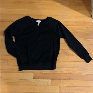 Black sweater with lace pattern